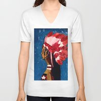 native american V-neck T-shirts featuring Native American by Ksuhappy