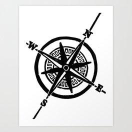 Black Nautical Compass  Art Print