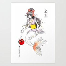 Goldfish Mermaid Art Print