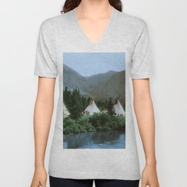 Blackfoot Camp Up the Cutbank in Montana Unisex V-Neck