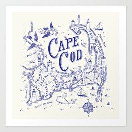 Cape Cod Map Art Print