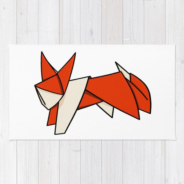 Origami Fox Rug By Mailboxdisco Society6