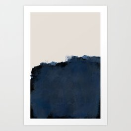 Abstract, blue, beige, indigo Art Print