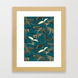 just whales blue Framed Art Print