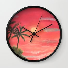 Palm trees swaying in the wind Wall Clock