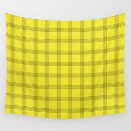 Black Grid on Yellow Wall Tapestry