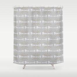 Broken Bones Grey Shower Curtain