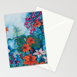 Blue Jungle of Orange Lily and Pink Trumpet Vine Floral Stationery Cards