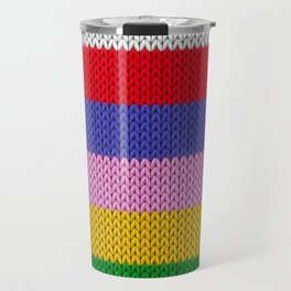 Knitted colorful stripes  Travel Mug