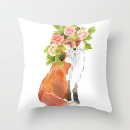 fox with flower crown Throw Pillow