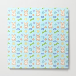 Cute Corgi Pattern (Light Teal Background) Metal Print