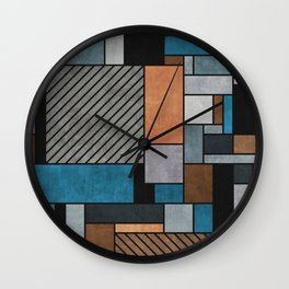 Colorful random pattern - blue, grey, brown Wall Clock
