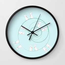 The Funny Bunnies in Baby Blue Wall Clock