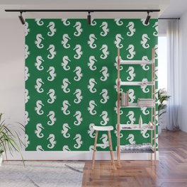 Seahorses (White & Olive Pattern) Wall Mural