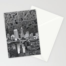 indianapolis city skyline black and white Stationery Cards