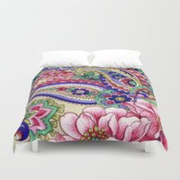 deco Duvet Covers featuring Floral Deco by Elena Indolfi