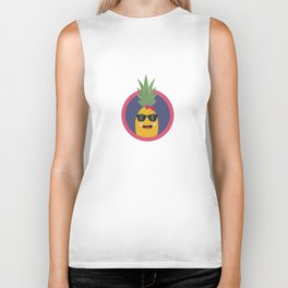 Cool pineapple with sunglasses Biker Tank