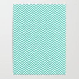 Aqua Blue Chevron Zig Zag Poster