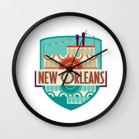 new orleans Wall Clocks featuring NEW ORLEANS by Fedi