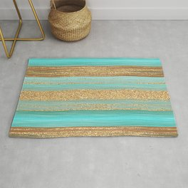 Turquoise Brown Faux Gold Glitter Stripes Pattern Rug