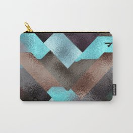 Bronze Brown Blue Burgundy Metal Abstract Mountains Carry-All Pouch