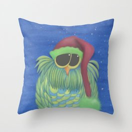 Ernesto the Secret Santa Owl Throw Pillow