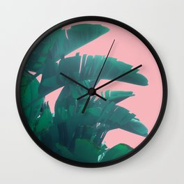 Banana Leaves on pink Wall Clock