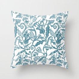 Japanese Folk Lino Print Throw Pillow