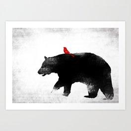 Bear and Bird Art Art Print