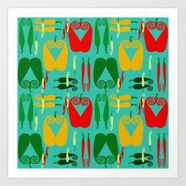 Pepper Paisley Pattern on Teal Art Print