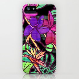 Tropical leaves and flowers, jungle print iPhone Case
