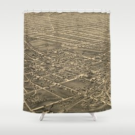 Vintage Pictorial Map of Greensboro NC (1891) Shower Curtain