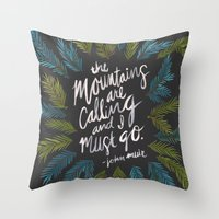 the mountains are calling Throw Pillows featuring Mountains Calling – Charcoal by Cat Coquillette