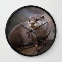 otter Wall Clocks featuring Otter by SomniumStudios.co.uk