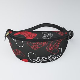 Video Games Red on Black Fanny Pack