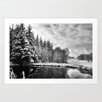 john snow Art Prints featuring Elterwater Snow by JPM Design