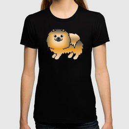 Orange Sable Pomeranian Dog Cute Cartoon Illustration T-shirt