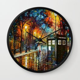 Tardis And Umbrella girl Wall Clock