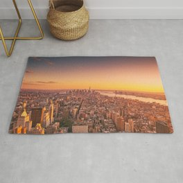 New York City Sunset Skyline Rug