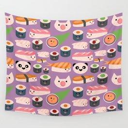 Kawaii sushi purple Wall Tapestry