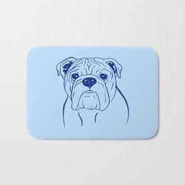 English Bulldog (Blue and Navy) Bath Mat