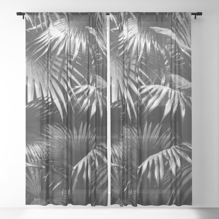 Tropical Botanic Jungle Garden Palm Leaf Black And White Sheer Curtain