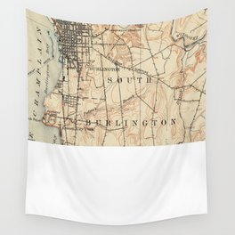 Vintage Burlington Vermont Topographic Map (1904) Wall Tapestry