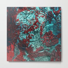 Closer // acrylic texture painting, red & teal Metal Print