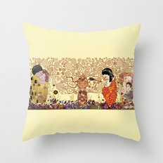 Kokeshis Klimt Throw Pillow