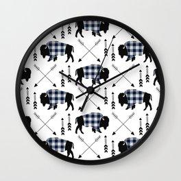 Blue Buffalo Plaid Wall Clock