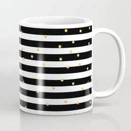 Modern black white gold polka dots striped pattern Coffee Mug