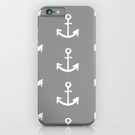 Anchors - Gray with White iPhone Case