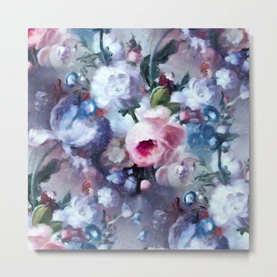 Blue and pink floral pattern Metal Print