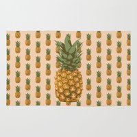 pineapples Area & Throw Rugs featuring Pineapples by brocoli art print